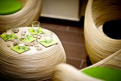 Wattle furniture set. cool wattle furnitures and green accessories. home inte Stock Photos
