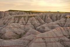 Scenery of south dakotas badlands national park. eroded sandstones landscape Stock Photos