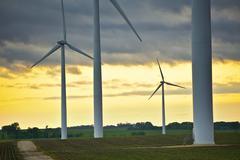wind energy overlook - wind turbines - mower county, mn, usa. sunset theme. - stock photo