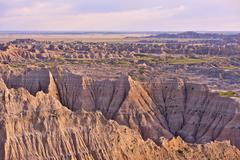 Badlands panorama. moon-like landscape of badlands national park. nature phot Stock Photos