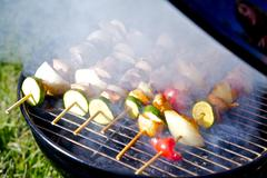 Chicken shish kabobs on the grill prepare on grill. food photo collection. Stock Photos
