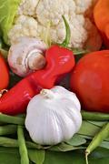 organic vegetable ingredients. fresh garden produce. vertical studio shot. ga - stock photo