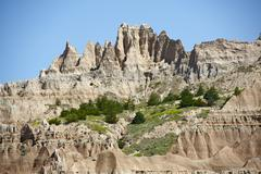 badlands formations - eroded sandstones. the badlands were formed by the geol - stock photo