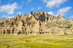 badlands has been formed by the geologic forces of deposition and erosion. ba - stock photo