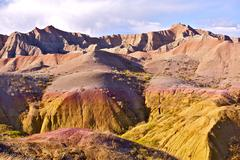 badlands national park near pine ridge indian reservation. eroded buttes, pin - stock photo
