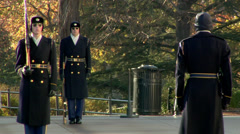 Arlington Cemetery - Changing of the Guards Stock Footage