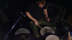 High angle shot of man playing drums on stage / Spanish Fork, Utah, United Stock Footage