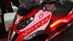 The new motorcycle ambulance of Magen David Adom Stock Footage