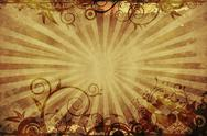 Stock Illustration of browny vintage floral background with rays and floral ornaments.