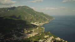 WS HA Shadow of clouds passing over coast / Maiori,Campania,Italy Stock Footage