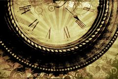 vintage clock background with floral ornaments - stock photo