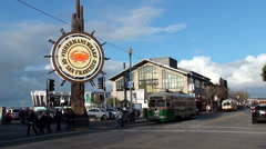 F Market streetcar at the Fisherman's Wharf, San Francisco. Stock Footage