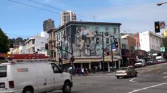 """Jazz Mural"" by Bill Weber at North Beach, San Francisco. California, USA. Stock Footage"
