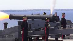 Firing a Cannon, Blasts, Explosions Stock Footage