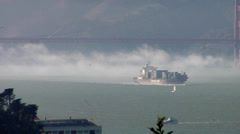 Cargo Ship on The San Francisco Bay Stock Footage