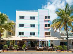 art deco architecture at ocean drive in south beach, miami - stock photo
