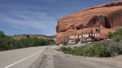Hole in the Rock tourist destination traffic Moab Utah HD 294 Stock Footage