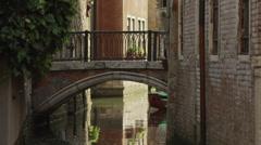 WS TU Couple on footbridge over canal / Venice,Italy Stock Footage