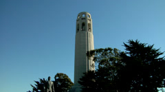 CoiCoit Tower San Francisco California in a blue sky day  Stock Footage