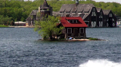 House on Island, Homes, Water Stock Footage