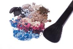 Set of multicolor crushed eyeshadows Stock Photos