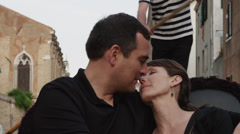 CU Couple kissing,traveling in gondola / Venice,Veneto,Italy Stock Footage