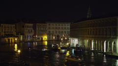 T/L WS HA Boat traffic on Grand Canal at night / Venice,Veneto,Italy Stock Footage