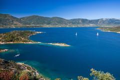 Yachts in Aegean sea - stock photo