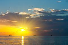Sunrise over Atlantic ocean - stock photo
