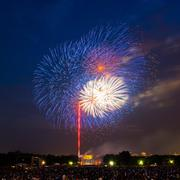 Fireworks over Lincoln Memorial - stock photo