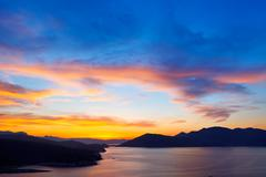 Beautiful sunset over Aegean sea - stock photo