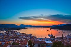 sunset over Aegean sea - stock photo