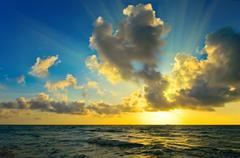 Sunrise over Atlantic ocean Stock Photos