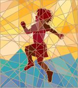 happy girl mosaic - stock illustration