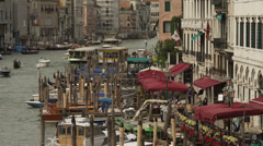 WS Sidewalk cafe and docks at Grand Canal / Venice,Italy Stock Footage