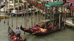 WS HA Gondolas on Grand Canal / Venice,Italy Stock Footage
