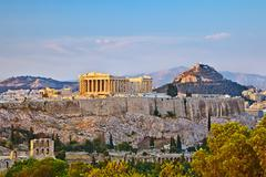 Acropolis at sunset - stock photo