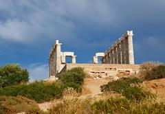 Ruins of Poseidon temple, Cape Sounion - stock photo