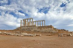 Ruins of Poseidon temple, Greece - stock photo