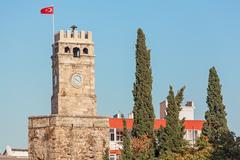 Clock Tower Antalya Stock Photos