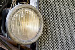 Model T Headlight and Radiator Closeup Stock Photos