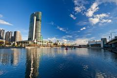 Melbourne, Skyscrapers on Yarra River - stock photo