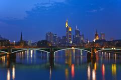 Frankfurt am Main at dusk Stock Photos