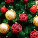 Christmas balls on Christmas tree Stock Photos