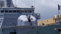 French Frigate Germinal F735 in San Juan Harbor 3 Stock Footage