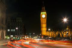 Traffic in night London, UK Stock Photos