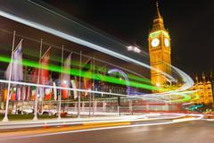 Traffic in night London Stock Photos