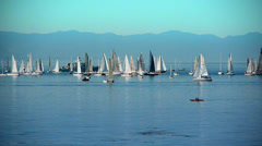 Sailing Boat Regatta, Mountains and Ocean Stock Footage