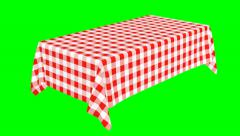Rectangular tablecloth with red checkered pattern - stock footage