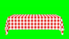 Rectangular horizontal tablecloth with red checkered pattern - stock footage